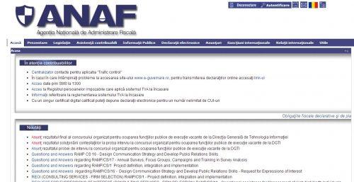 Site ANAF indisponibil in week-end
