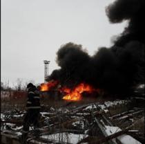 Incendiu la fosta rafinarie Astra Romana