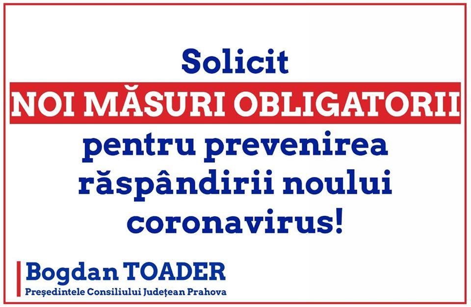 Bogdan Toader cere DE URGENTA prefectului noi masuri de protectie impotriva coronavirus!