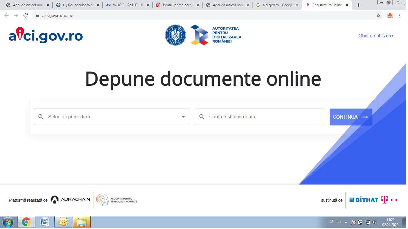 Inregistrarea documentelor adresate institutiilor publice se poate face online. S-a lansat platforma aici.gov.ro