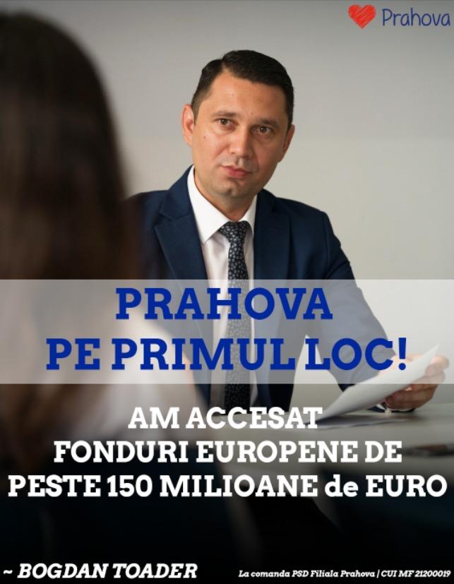 Bogdan Toader: Prahova este LIDER regional în absorbtia de fonduri europene, cu peste 150 de milioane de euro atrase de la Uniunea Europeană!