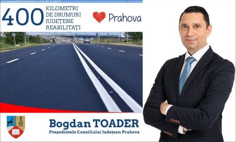 """Bogdan Toader: """"In mandatul 2016-2020, aproape 400 de kilometri din reteaua de drumuri judetene au primit strat nou de asfalt"""""""