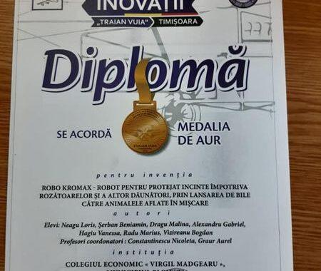"""Aur pentru elevi ploiesteni la Salonul International de Inventii si Inovatii """"Traian Vuia"""" Timisoara"""