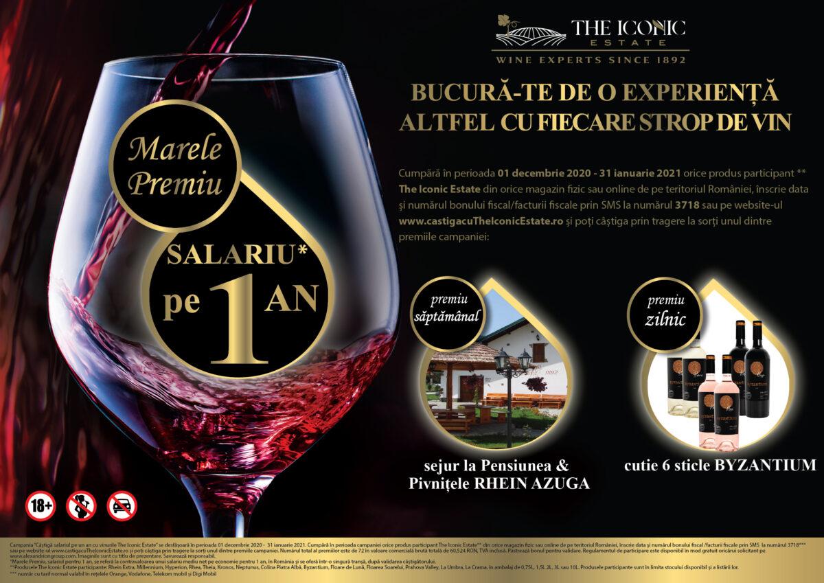 """Crama The Iconic Estate lansează campania """"Bucură-te de o experiență altfel cu fiecare strop de vin!"""" – câștigă salariul pe un an și multe alte premii!"""